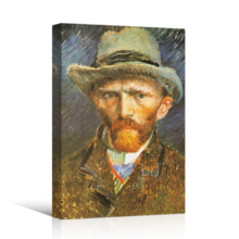 Crafted to Perfection, Delightful Technique, Self Portrait with Grey Felt Hat by Vincent Van Gogh Print Famous Painting Reproduction