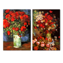 Famous Oil Painting Reproduction Replica Set of 2 Vase with Poppies Cornflowers Peonies and Chrysanthemums Red Poppies by Van Gogh ped Wall Decor x 2 Panels