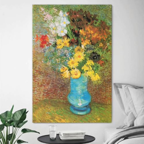 Incredible Technique, Flowers in a Blue Vase 1887 by Vincent Van Gogh Print Famous Oil Painting Reproduction, Created By a Professional Artist