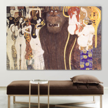 Majestic Expertise, Beethoven Frieze The Hostile Forces by Gustav Klimt Print Famous Oil Painting Reproduction, Professional Creation