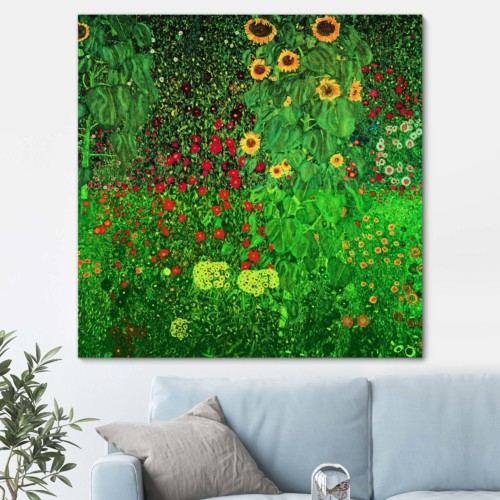 Cottage Garden with Sunflowers by Gustav Klimt (Oil Reproduction) - Canvas Art