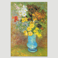 "Flowers in a Blue Vase, 1887 by Vincent Van Gogh - Canvas Print Wall Art Famous Oil Painting Reproduction - 32"" x 48"""