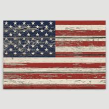 Classic Design, Marvelous Work of Art, USA Flag on Vintage Wood Background Wall Decor