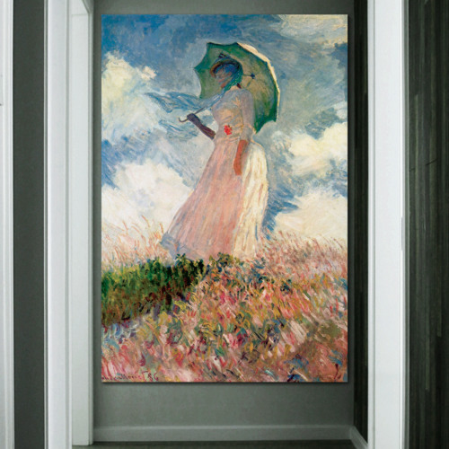 Woman With A Parasol, Facing Left by Claude Monet - Canvas Art
