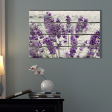 Created By a Professional Artist, Unbelievable Expert Craftsmanship, Retro Style Purple Flowers on Vintage Wood Background Rustic