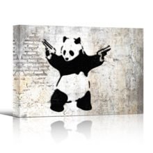 Banksy canvas wall decor print of Panda With Guns Stick Em Up shown in 3-d with a drop shadow against a white backdrop.