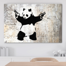 Banksy canvas wall art print of his famous work Girl With Balloon there is always hope in a modern living room.