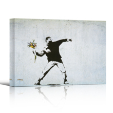 Banksy canvas wall decor print of Rage The Flower Thrower love is in the air shown in 3-d with a drop shadow against a white backdrop.