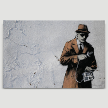 Spy Booth Man Holding Recording Device by Banksy