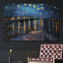 Starry Night Over The Rhone by Van Gogh - Canvas Art Wall Decor-12 x18