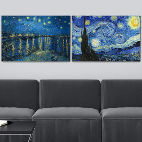 Starry Night & Over The Rhone River Canvas Prints Set of 2 - Reproduction of Van Gogh/Ready to Hang - 16