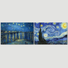 "Starry Night & Over The Rhone River Canvas Prints Set of 2 - Reproduction of Van Gogh/Ready to Hang - 16"" x 24"" x 2 Panels"