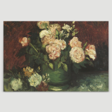 Created Just For You, Unbelievable Object of Art, Bowl with Peonies and Roses by Vincent Van Gogh Oil Painting Reproduction