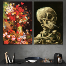 """Wall26 - Vase with Poppies, Cornflowers, Peonies and Chrysanthemums/Skull of a Skeleton with Burning Cigarette by Vincent Van Gogh - Oil Painting Reproduction in Set of 2-16"""" x 24"""" x 2 Panels"""