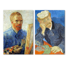 Portrait of Dr Gachet Self Portrait as a Painter by Vincent Van Gogh Oil Painting Reproduction in Set of Panels