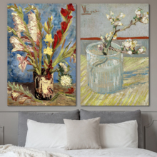 Sprig of Flowering Almond in a Glass Vase with Gladioli and China Asters by Vincent Van Gogh Oil Painting Reproduction in Set of Panels