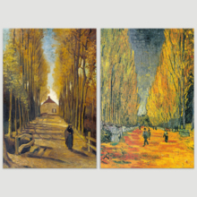 Les Alyscamps (Avenue in Arles) Avenue of Poplars in Autumn by Vincent Van Gogh Oil Painting Reproduction in Set of Panels