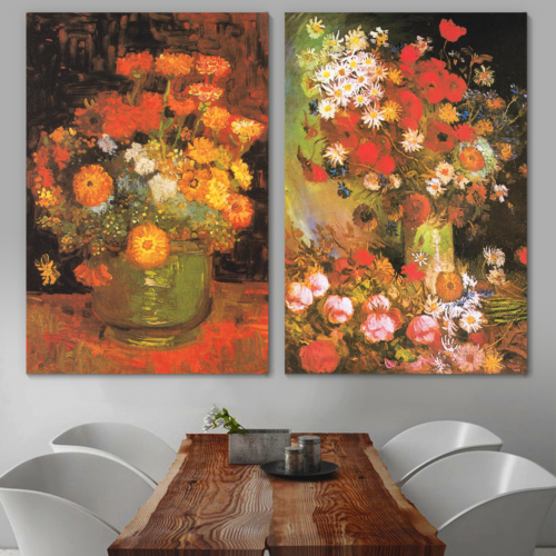 Bowl with Peonies and Roses/Vase with Zinnias by Vincent Van Gogh - Oil Painting Reproduction in Set of 2 | Canvas Prints Wall Art, Ready to Hang - 16