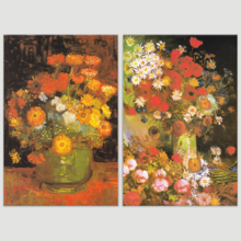 "Bowl with Peonies and Roses/Vase with Zinnias by Vincent Van Gogh - Oil Painting Reproduction in Set of 2 | Canvas Prints Wall Art, Ready to Hang - 16"" x 24"" x 2 Panels"