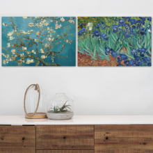 Irises Almond Blossom by Vincent Van Gogh Oil Painting Reproduction in Set of Panels