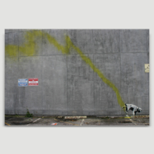 Dog Peeing On Wall Street by Banksy - Canvas Print