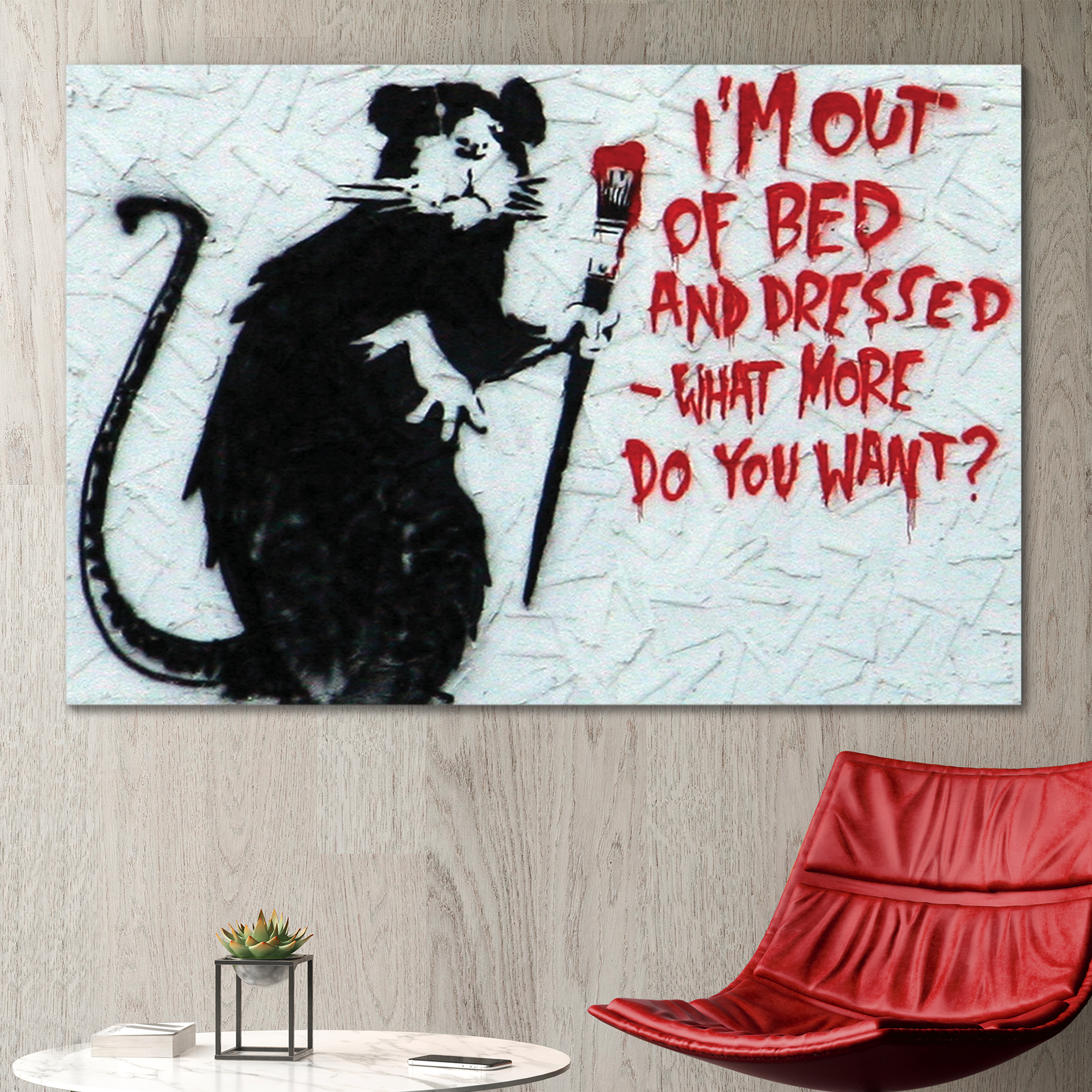 Rat Art I'm Out Of Bed And Dressed by Banksy