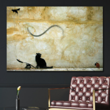 Cat Chasing Flying Mouse by Banksy - Canvas Art Print