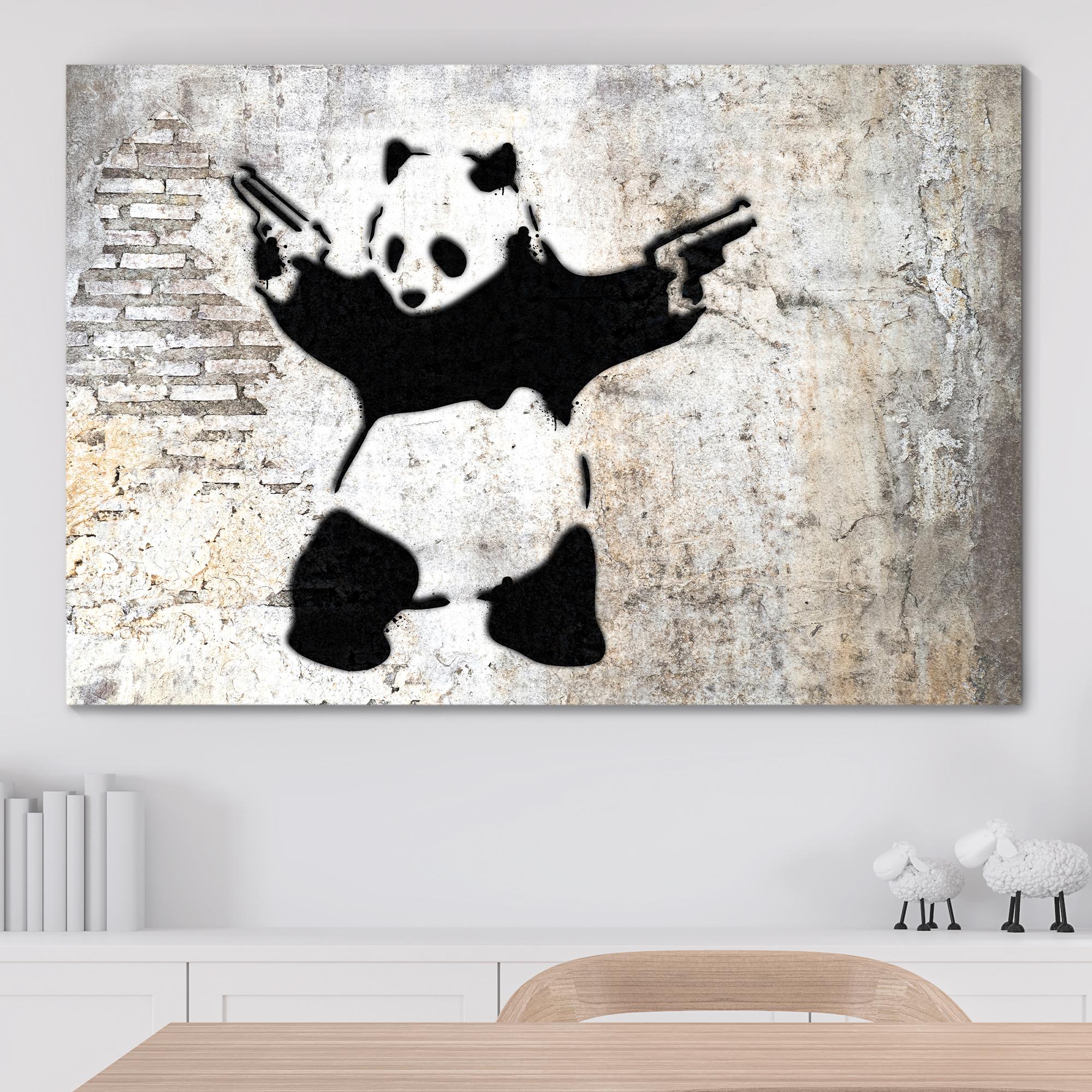 Banksy Panda With Guns - Canvas Wall Art