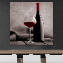 Lovely Piece of Art, Romance Series Black White and red Color pop Deep red Wine Cabernet Merlot Shiraz Bottle and Glass, Made to Last
