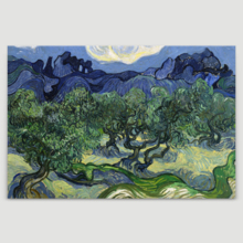 "Olive Trees with The Alpilles in The Background by Vincent Van Gogh - Canvas Print Wall Art Famous Painting Reproduction - 12"" x 18"""