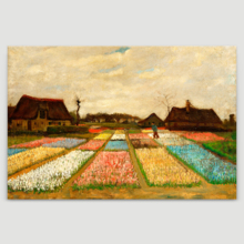 """Flower Beds in Holland (or Bulb Fields) by Vincent Van Gogh Famous Fine Art Reproduction World Famous Painting Replica on ped Print Wood Framed - Canvas Art Wall Art - 12"""" x 18"""""""