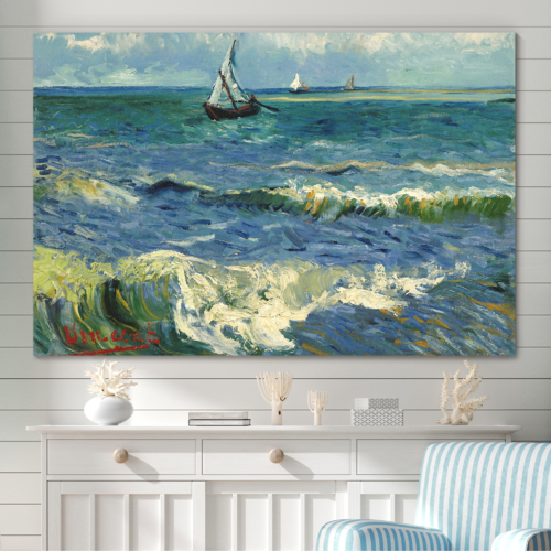 Handsome Composition, That You Will Love, Seascape at Saintes Maries by Van Gogh