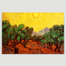 """Olive Trees with Yellow Sky and Sun by Van Gogh Giclee Canvas Prints Wrapped Gallery Wall Art 