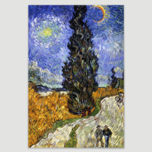 """Road with Cypress and Star by Vincent Van Gogh Giclee Canvas Prints Wrapped Gallery Wall Art 
