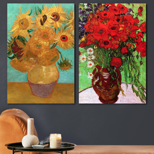 Famous Oil Painting Reproduction/ Replica Set of 2 - Still Life Vase with Twelve Sunflowers & Red Poppies and Daisies by Van Gogh Canvas Prints Wall Art/Ready to Hang Wrapped Canvas - 16