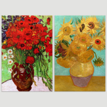 "Famous Oil Painting Reproduction/ Replica Set of 2 - Still Life Vase with Twelve Sunflowers & Red Poppies and Daisies by Van Gogh Canvas Prints Wall Art/Ready to Hang Wrapped Canvas - 16""x24""x2 Panels"