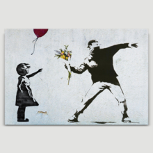 Mixed Girl With Balloon & Rage The Flame Thrower by Banksy