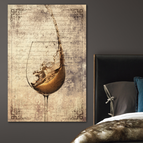 Canvas Wall Art - Wine Splash in Glass on Vintage Letter Background - Gallery Wrap Modern Home Art | Ready to Hang - 12x18 inches