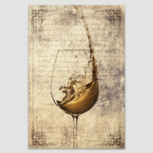Stunning Design, Made With Love, Wine Splash in Glass on Vintage Letter Background