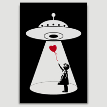 UFO Abducting Balloon From There Is Hope Girl by Banksy
