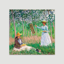 In the Woods at Giverny: Blanche Hoschede at Her Easel with Suzanne Hoschede Reading by Claude Monet - Canvas Art