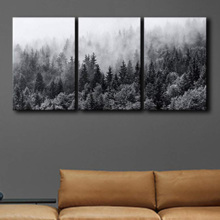 With a Professional Touch, Incredible Piece, Misty Forests of Evergreen Coniferous Trees in an Ethereal Landscape x3 Panels