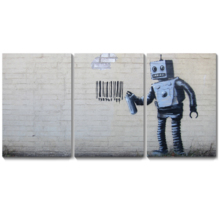 Banksy Robot Artwork - Canvas Wall Art Print