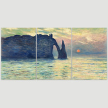 The Cliff, Etretat, Sunset by Claude Monet - 3 Panel Canvas Art
