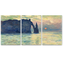 The Cliff Etretat Sunset by Claude Monet x3 Panels