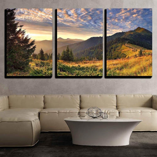 Alluring Artisanship, Sunrise in The Mountains Wall Decor x3 Panels, Made With Love