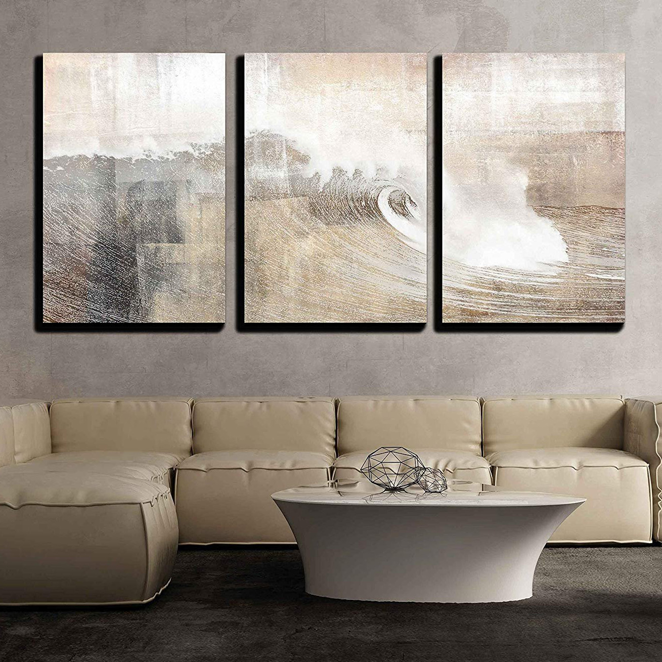 Abstract Huge Wave Composition - Canvas Art Wall Decor-16 x24 x3 Panels