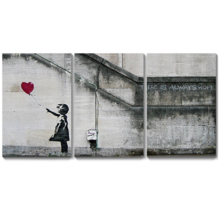 Made to Last, Incredible Style, There is Always Hope Girl and Red Heart Balloon Street Art Guerilla x3 Panels