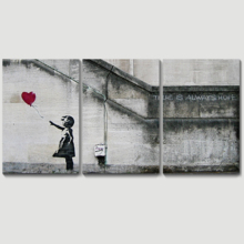 Premium Creation, Majestic Handicraft, There is Always Hope Girl and Red Heart Balloon Street Art Guerilla x3 Panels
