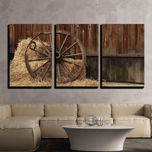 3 Piece Canvas Wall Art - The Old Antique Wheel from cart on Background of hay and barn - Modern Home Art Stretched and Framed Ready to Hang - 16
